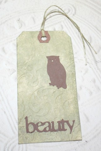 Owl Beauty Embossed Distressed Altered Luggage Style Tag