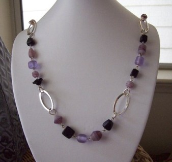 Purple Black Linked Necklace w Lobster Clasp