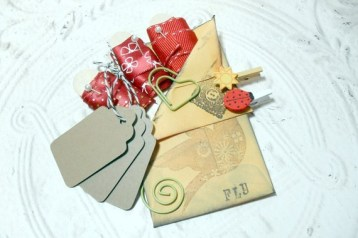 Red Embellish Pack - 3 Yards of Ribbon Kraft Tags Bakers Twine Spiral Clips Mini Clothes Pin Set