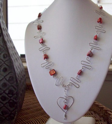 Red Shell Heart Wire Wrapped Necklace