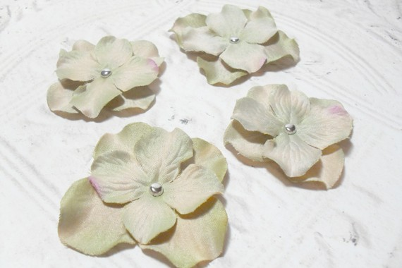 Set of 4 Bronze Artificial Silk Flower Brad Centered Craft Embellishment - 2in