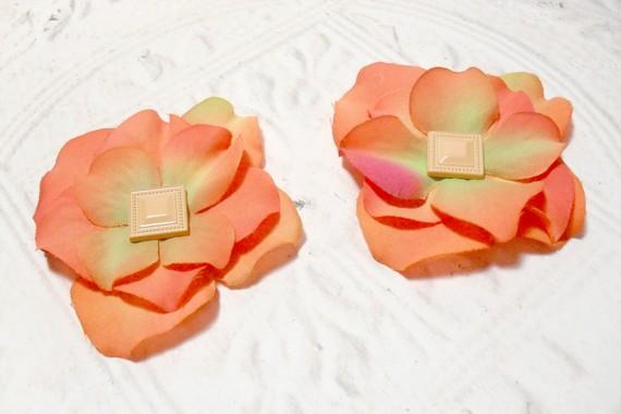 Set of Two Orange Artificial Silk Flower Brad Centered Craft Embellishment