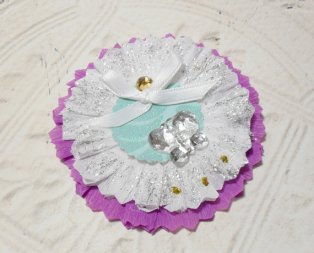 Shabby Chic Purple and White Butterfly Glittered Paper Rosette
