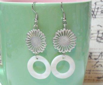 Silver Flower White Mother of Pearl Donut Earrings