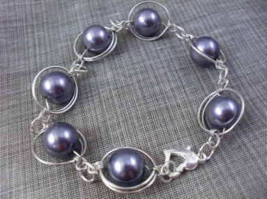 Solar Planets Gray Luster Glass Pearl Wire Wrapped Bracelet