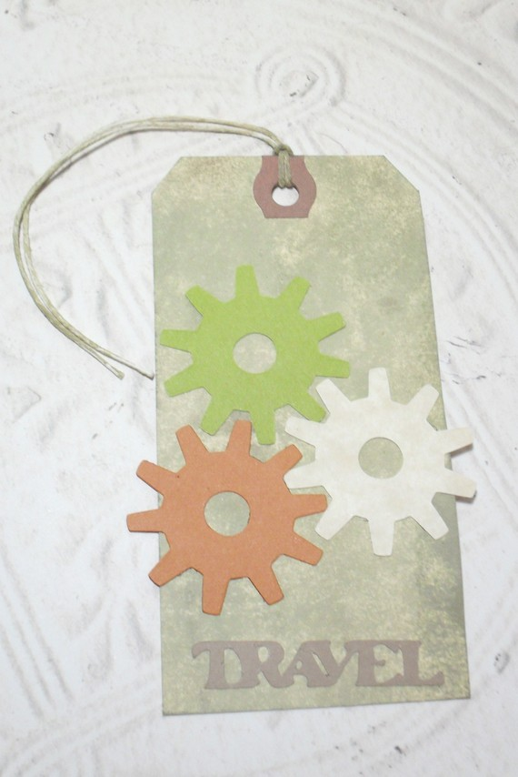 Travel Wheel Gears Embossed Distressed Altered Luggage Style Tag