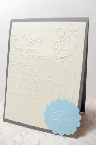 Yellow Blue Its a Boy Embossed Dimensional Card - 4 x 6 Envelope Included