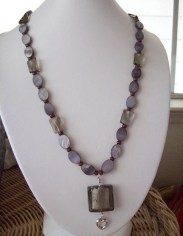 black foil square glass beaded necklace