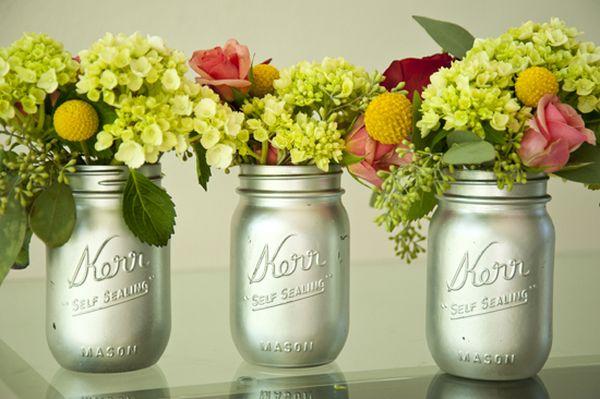 Mason Jar Flower Pots