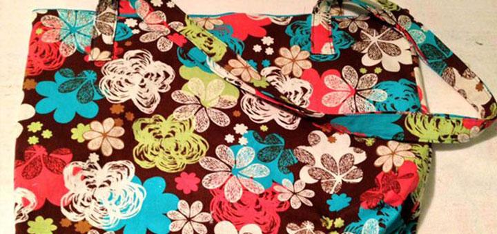 MadeByMeganN-Flower-Print-Teal-Reversible-Tote-Bag
