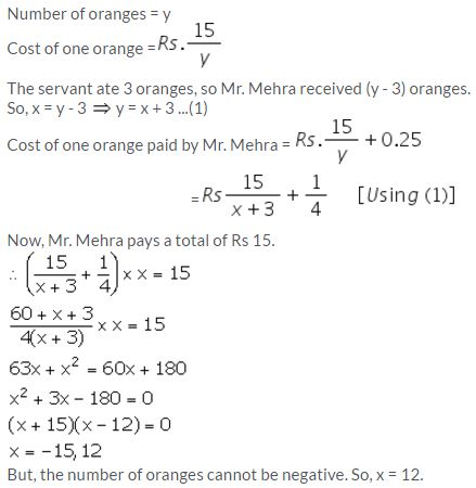 Selina Concise Mathematics Class 10 ICSE Solutions Solving Simple Problems (Based on Quadratic Equations) - 34