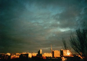 Munich Sunset. Taken with Fuji disposable camera.