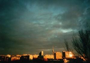 Munich Sunset. Taken with Fuji disposable camera.