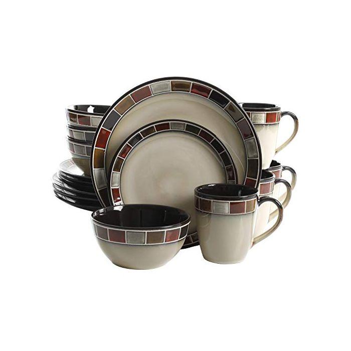 gibson elite 114348 16rm casa roja 16 piece reactive glaze dinnerware set cream and red