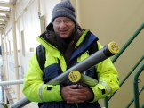 Dr. Larry Mayer carrying sediment cores recovered from below Petermann Gletscher from the helicopter deck to the laboratory aboard I?B Oden in Aug.-2015.