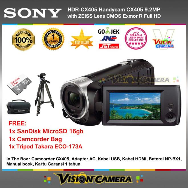 SONY HDR-CX405 Handycam CX405 9.2MP with ZEISS Lens CMOS Exmor R Full HD (Garansi 1th) + MicroSD SanDIsk Ultra 16gb + Camcorder Bag + Tripod Takara ECO-173A