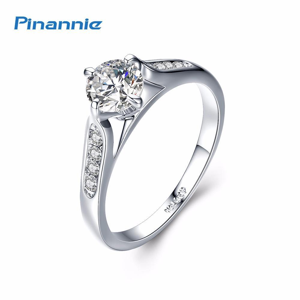 Pinannie 1 Karat Jelas Kubik Zirkonia Putih Berlapis Emas Berlian Cincin Wanita Pertunangan untuk Perempuan