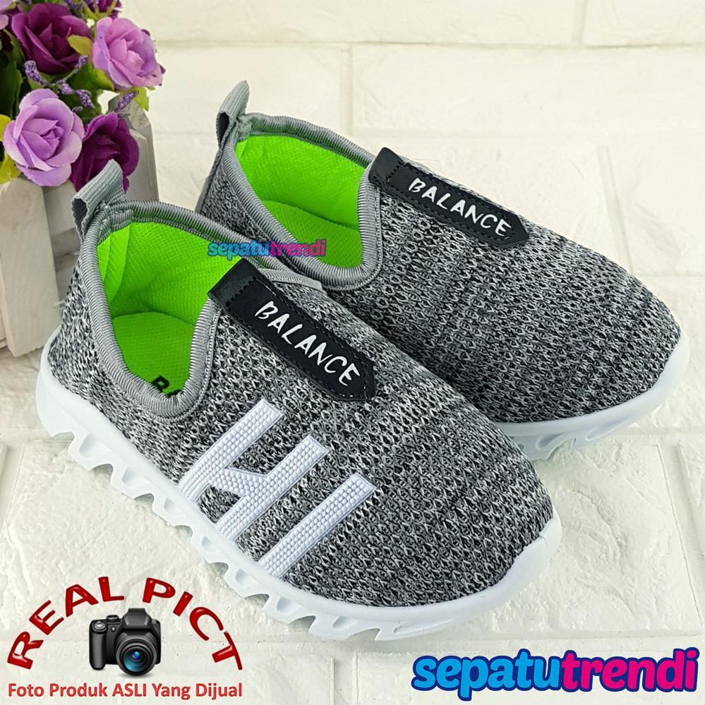 Sepatu Trendi Sepatu Slip On Sport Anak Laki Laki Cowo BLNC Sepatu Kets Anak Cowok Usia 2 3 4 5 6 7 8 9 10 Tahun
