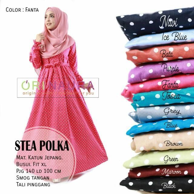 Gamis Stea Polka Dress Ori Naura Longdress Maxi Katun Jepang (Tosca)