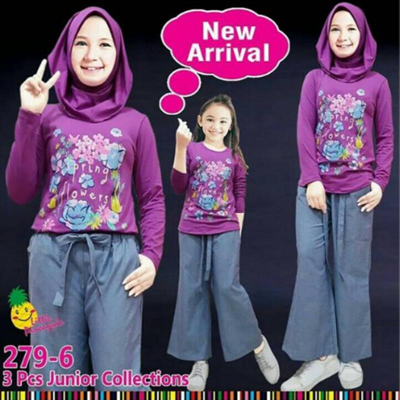 Baju Setelan Muslim Anak Perempuan Little Pineaple (LP) Baju Flower Celana Kulot Abu Polos