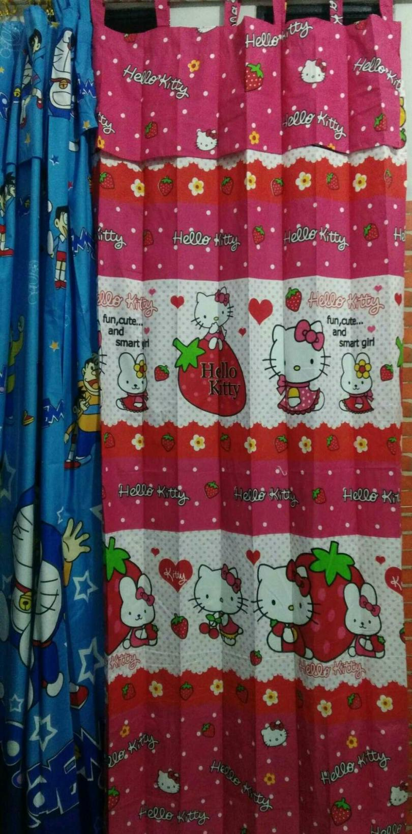 Gorden Pintu Jendela Minimalis Karater Hello Kitty/Gordyn karakter/gorden motif Kartun Hello Kitty/Gorden Rumah/Hordeng Hello Kitty