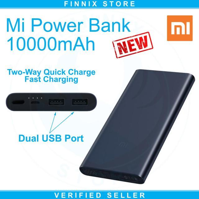Xiaomi Mi Power Bank 10000mAh Dual USB Port Fast Charging (Powerbank 10000mAh Terbaru Xiaomi Dengan 2 USB Port)