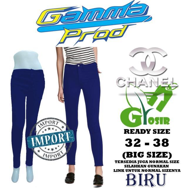 Celana Soft Jeans CHANEL BIRU Skinny WANITA GROSIR BIG SIZE