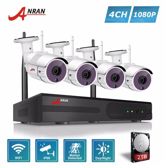 ANRAN 4CH Wireless NVR CCTV Kit P2P 1080P HD Outdoor WIFI Mini IP Camera 36IR Security Surveillance System
