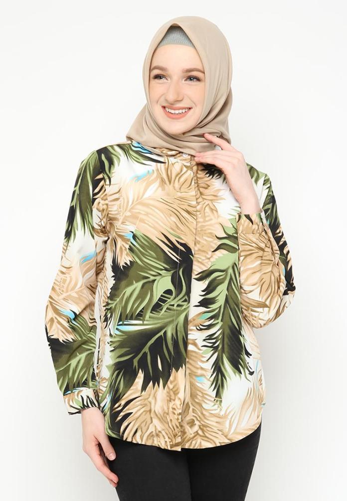 Kemeja Basic Motif Fashion Blouse Hijab Wanita