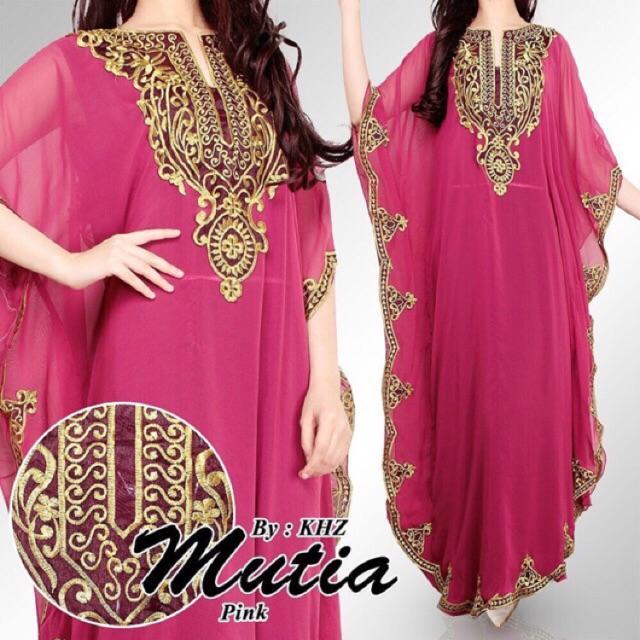 SALE! Kaftan Shireen / Kaftan Mutia / Gamis Dress Maxi Lebaran Muslim (Hijau)