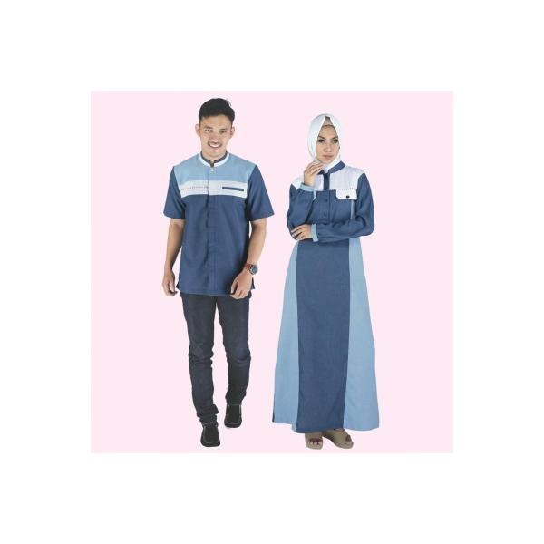 Baju Muslim Modern Terbaru Gamis Koko Couple Anak Pria Wanita Birumuda