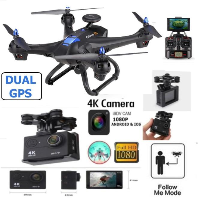 Drone X183 DUAL GPS UPGRADE 4K 16MP Camera Brushless