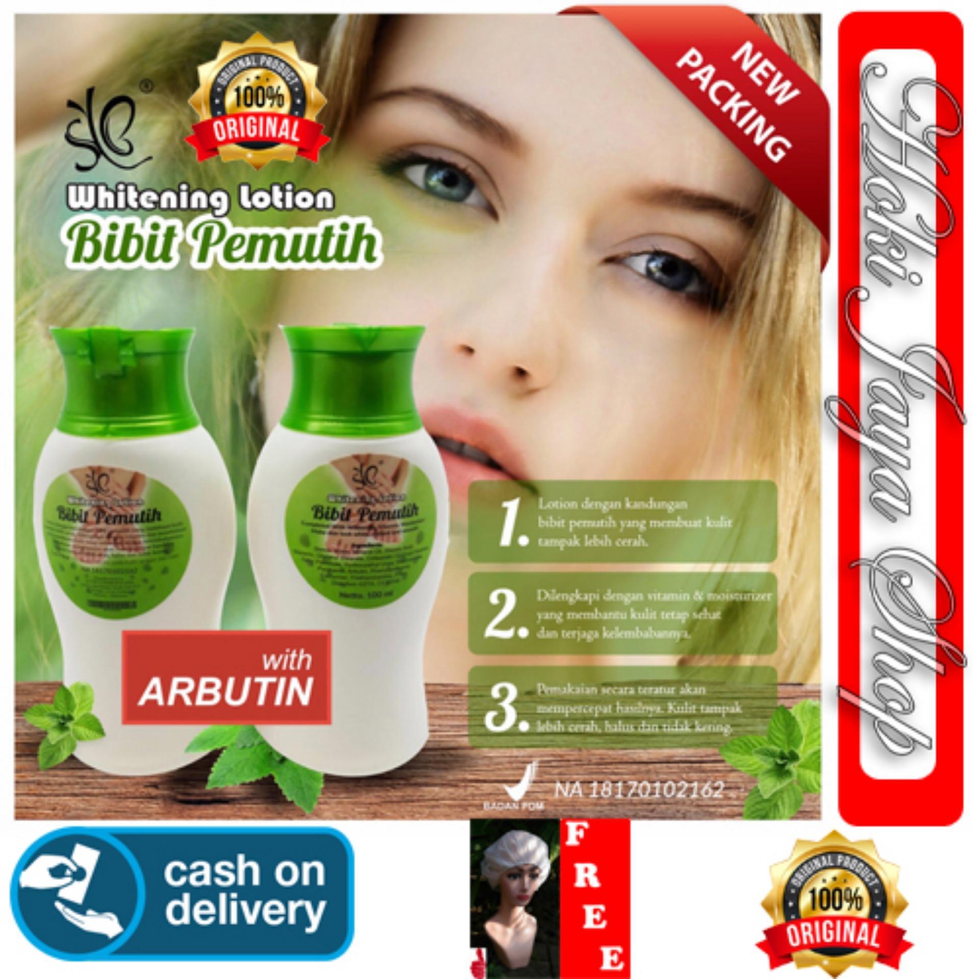 HOKI COD - ORIGINAL 100% Bibit Pemutih Whitening Body Lotion Pemutih Badan BPOM 100ml - Bibit Collagen + Gratis Shower Cap Putih - Premium