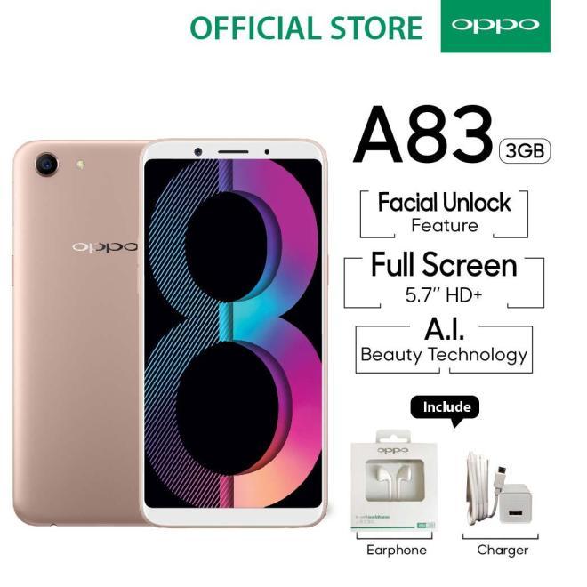 OPPO A83 SMARTPHONE 3GB/32GB Black , A.I Beauty, Face Unlock (COD, Garansi Resmi OPPO, Cicilan tanpa kartu kredit, Cicilan 0%, Gratis Ongkir)