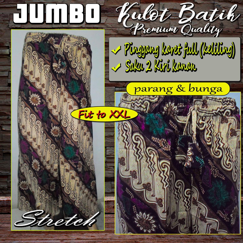 Celana Kulot Batik Jumbo - Katun Stretch High Quality - Parang dan Bunga