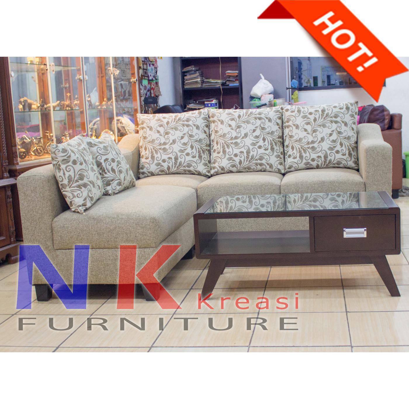 PROMO FREE ONGKIR - Sofa Kursi Ruang Tamu L sudut ELEGAN Minimalis mewah + MEJA CANTIK - JABODETABEK ONLY
