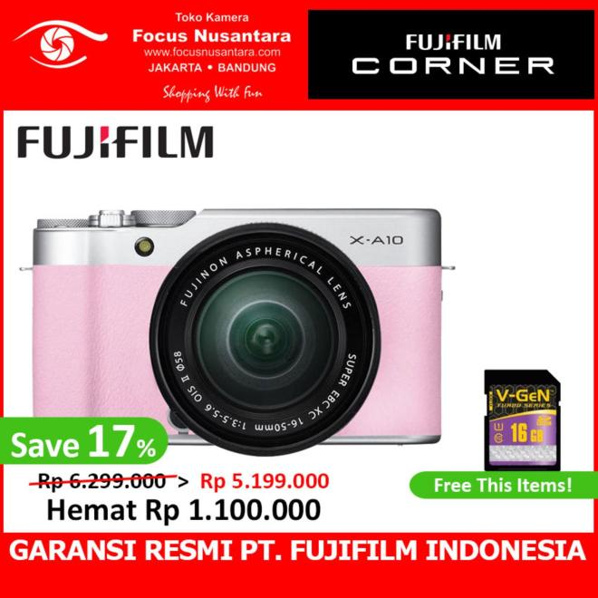 FUJIFILM X-A10 Kit XC 16-50mm f/3.5-5.6 OIS II + Free SDHC 16GB