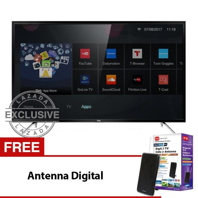 TCL 32 inch Smart LED Full HD TV - Hitam (model: 32S62) with Free Antenna