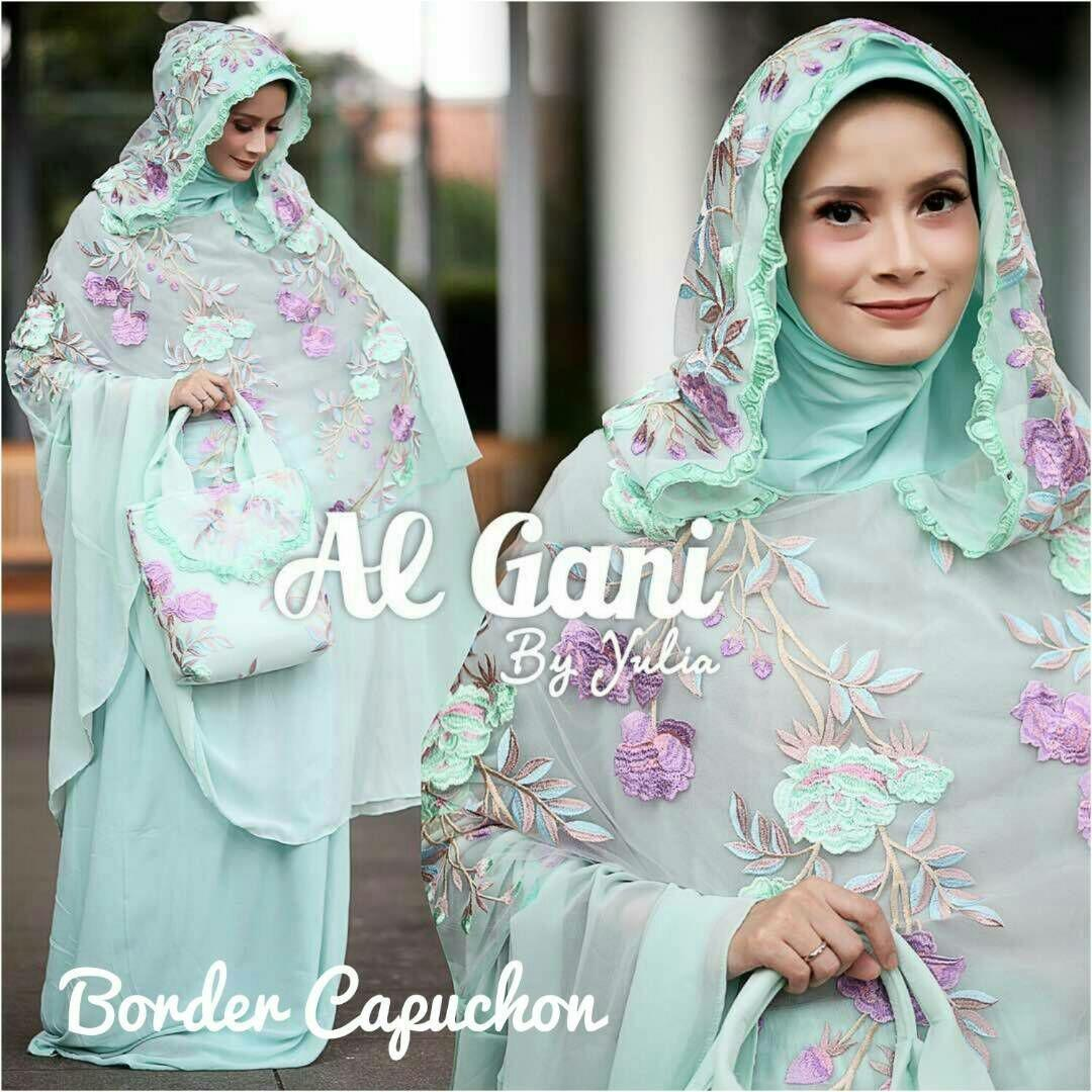 MUKENA BORDER CAPUCHON AL GANI BY YULIA (BEST SELLER & ORI)