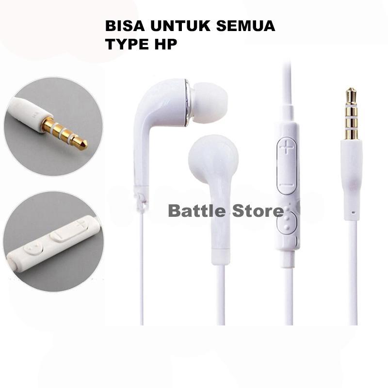 In-Ear J5 Earphone Earbuds Headphone Handsfree Earphones With Mic Volume For SAMSUNG GALAXY S3 S4 S5 Note 3 - Putih