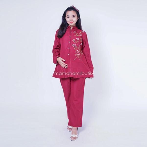 Mama Hamil Setelan Hamil Mawar kancing panjang cantik - STJ 79 B / Baju Menyusui Lengan Panjang / Baju Atasan Menyusui / Baju Menyusui Muslimah / Baju Muslim Wanita untuk Ibu Menyusui/ Baju Hamil Untuk Kerja / Baju Hamil Untuk Kerja Modis