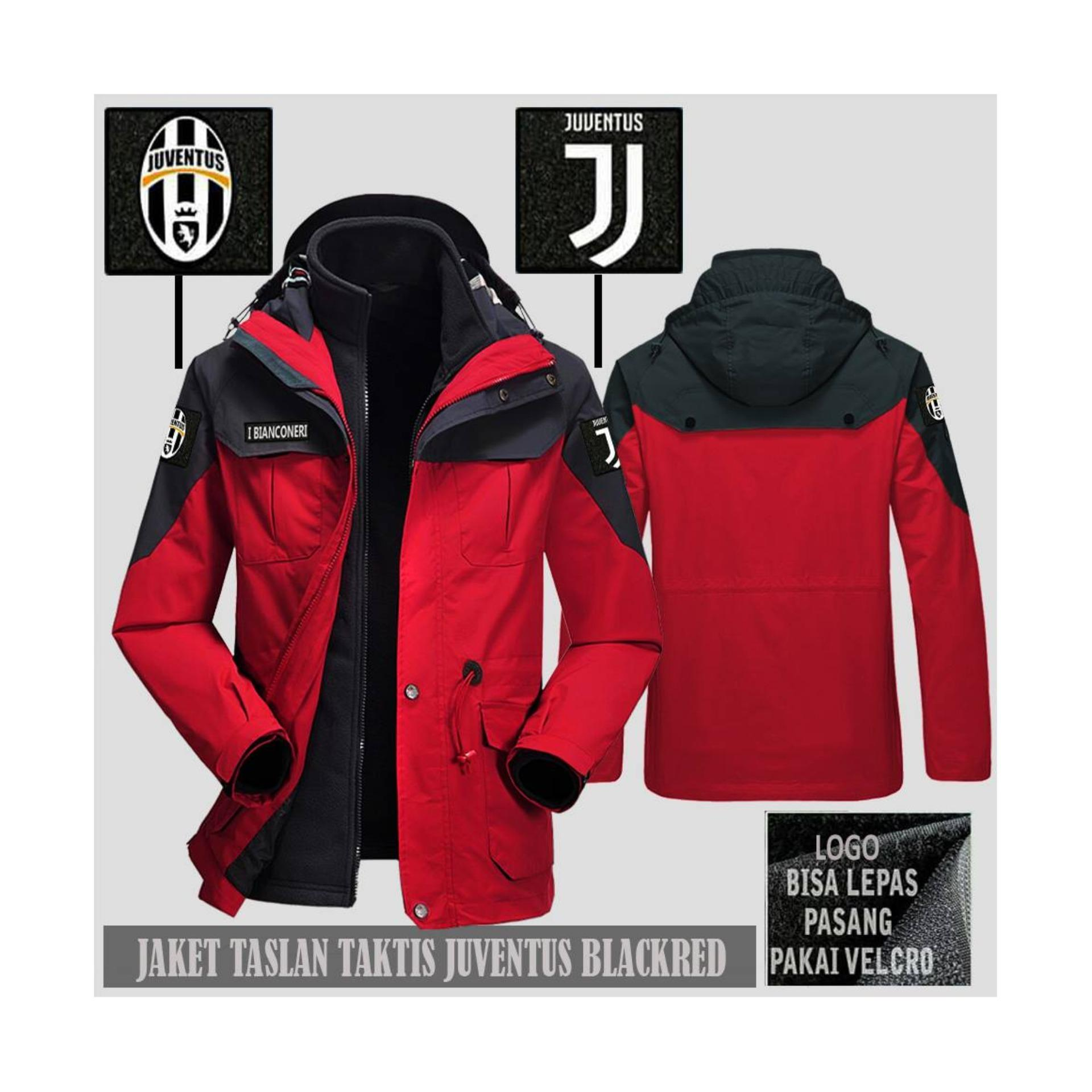 Jaket Taktis Merah bola JUVE waterproof taktikal bertudung all club militer outdor anti air