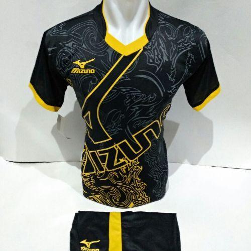 setelan olahraga kaos bola jersey futsal baju volly abstrak hitam kuning