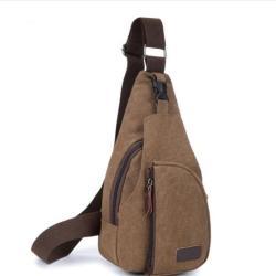 Bodypack Bag Tas Selempang Pria Bahan Jeans Men Sling Shoulder Bags - Cokelat Muda