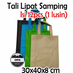 1 Pack isi 12pcs (30x40x8) Tas Spunbond / Tas Kain / Goodie Bag / Tas Souvenir / Kantong Souvenir