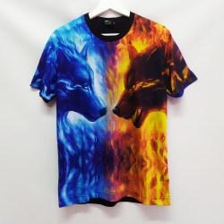 Baju Distro Kaos Printing 3D Import Bangkok Pria Dewasa Flame Blue Wolf Tshirt