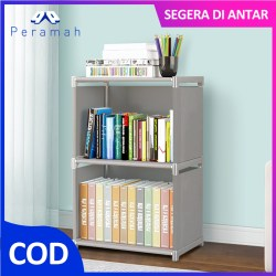 ã€COD】Peramah Rak Buku 2 Tingkat Bahan Plastik Storage Rak Rumah Dekorasi 3 Layer Non-woven Arrangement Shelf Gray Book Case