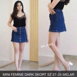 ✅COD BIA - Rok Jeans Wanita - Mini Femine Dark Skort - Softjeans Streach Terbaru