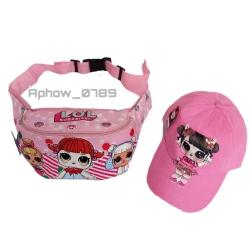 2in1 Tas Selempang/Waistbag Anak Karakter + Topi LED LOL - Waistbag Anak