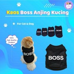 Baju Anjing Kucing tshirt Kaos Hewan kecil lucu Motif Boss Hitam Sejuk